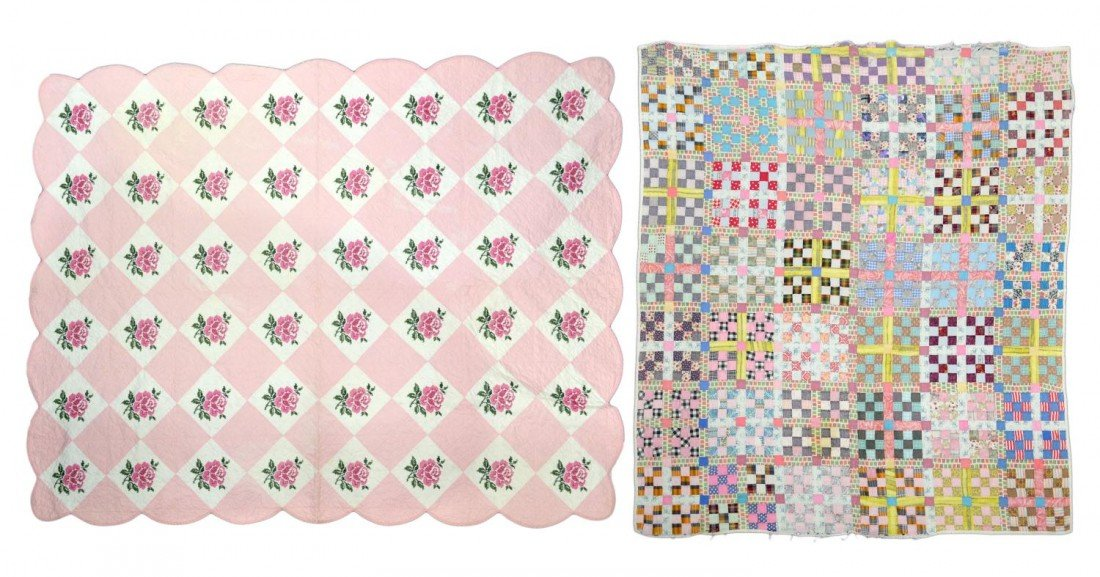86: (2) VINTAGE PASTEL HAND SEWN QUILTS