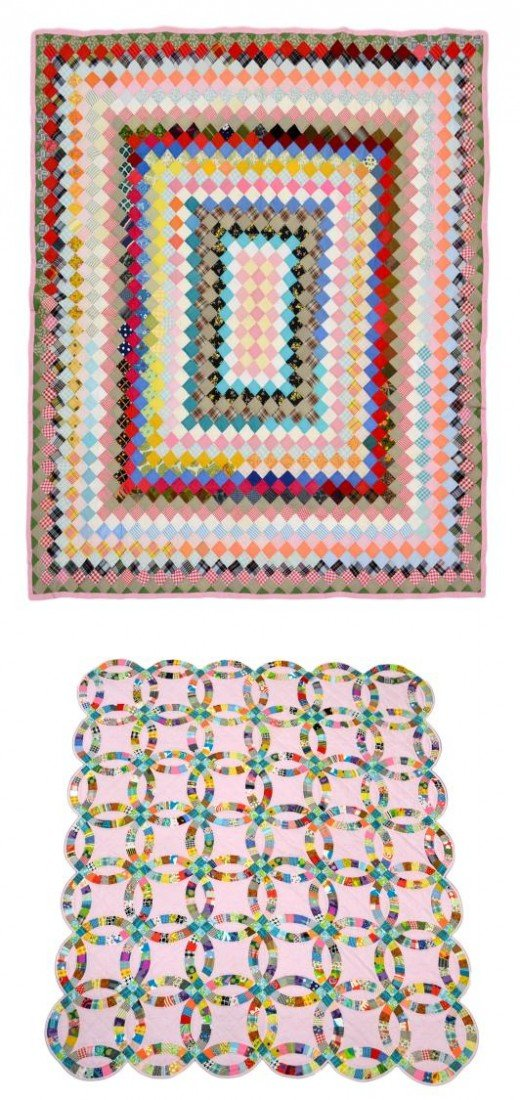 87: (2) VINTAGE PINK HAND SEWN QUILTS, WEDDING RING