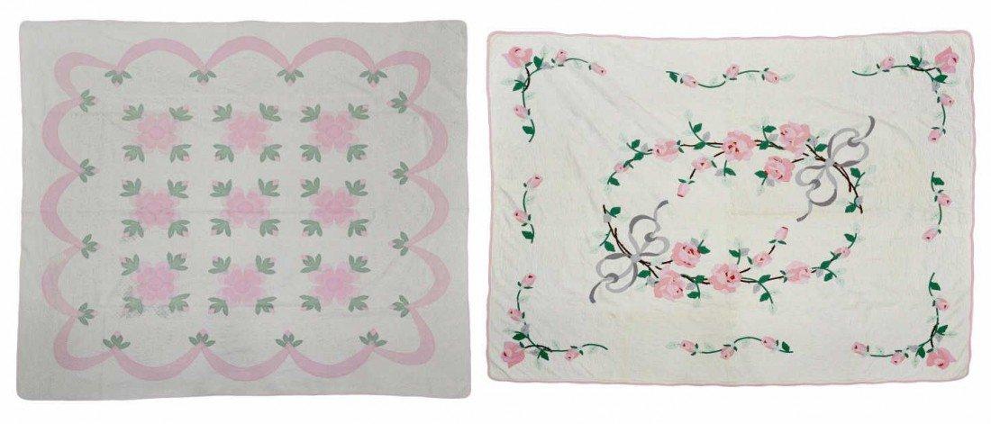 89: (2) VINTAGE PINK FLOWER HAND & MACHINE SEWN QUILTS