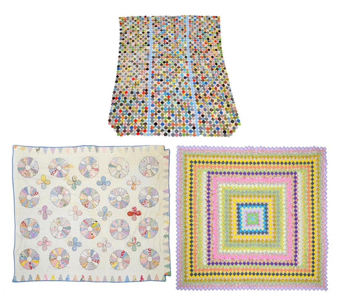 90: (3) VINTAGE HAND SEWN FLORAL QUILTS