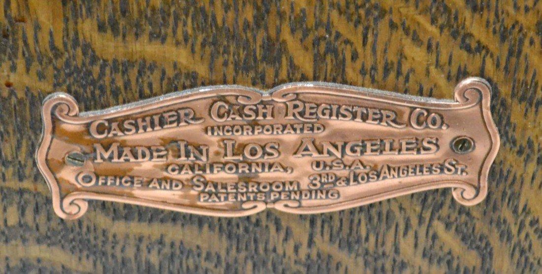 """104: ANTIQUE WOOD """"CASHIER CASH REGISTER"""", LOS ANGELES - 5"""