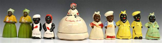130: (10) BLACK AMERICANA BUTTER DISH, MAMMY SHAKERS
