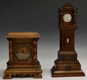 (2) LONG CASE CLOCK POCKET WATCH HOLDER & CLOCK
