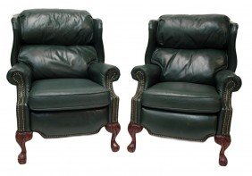 (PAIR) LEATHER WINGBACK RECLINING CHAIRS