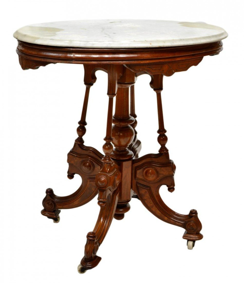 152: AMERICAN VICTORIAN MARBLE TOP PARLOR TABLE