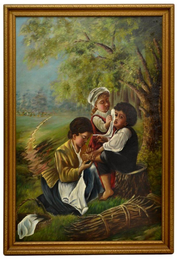 156: LARGE OIL PAINTING, MOTHER & CHILDREN