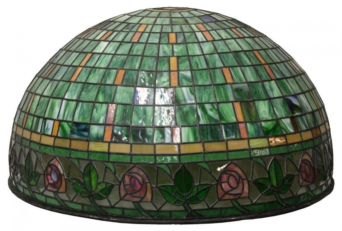 159: LARGE & IMPRESSIVE STAINED LEADED GLASS CANOPY