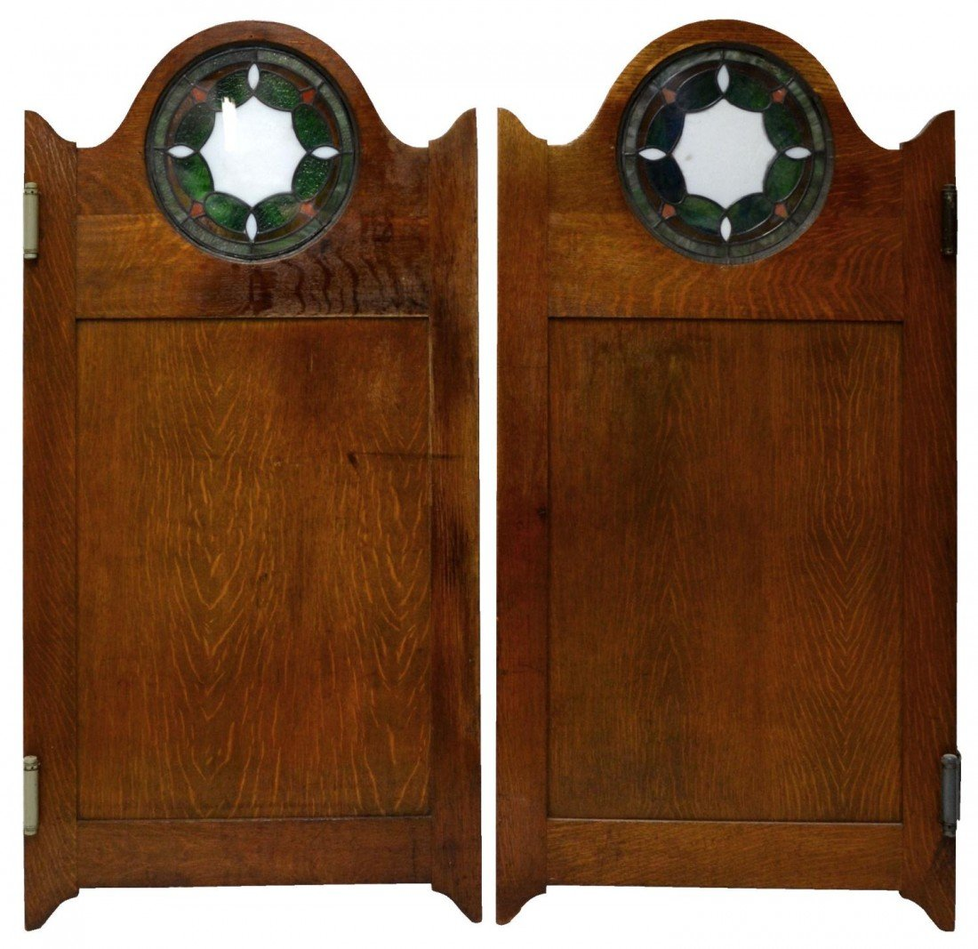 160: (PAIR) AMERICAN OAK & STAINED GLASS SALOON DOORS