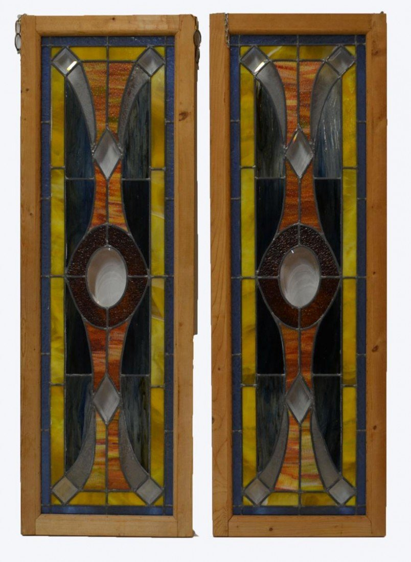 161: PAIR TALL AMERICAN LEADED & STAINED GLASS WINDOWS