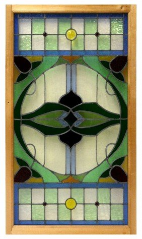 LARGE AMERICAN LEADED & STAINED GLASS WINDOW