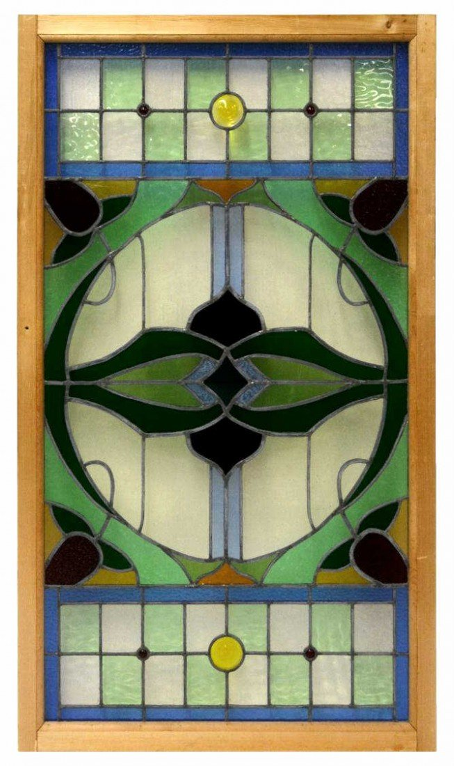162: LARGE AMERICAN LEADED & STAINED GLASS WINDOW