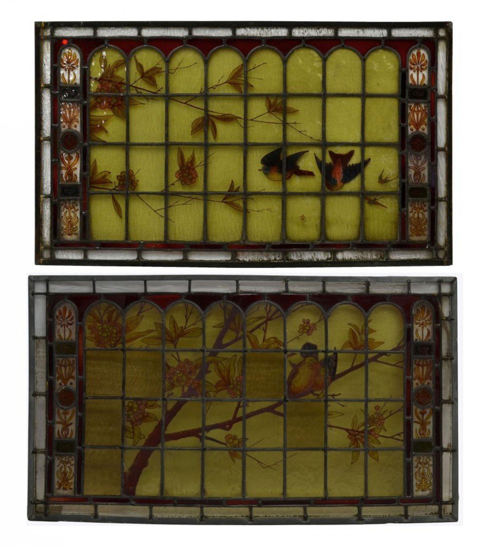 163: (2) LEADED STAINED GLASS PANELS HAND PAINTED BIRDS