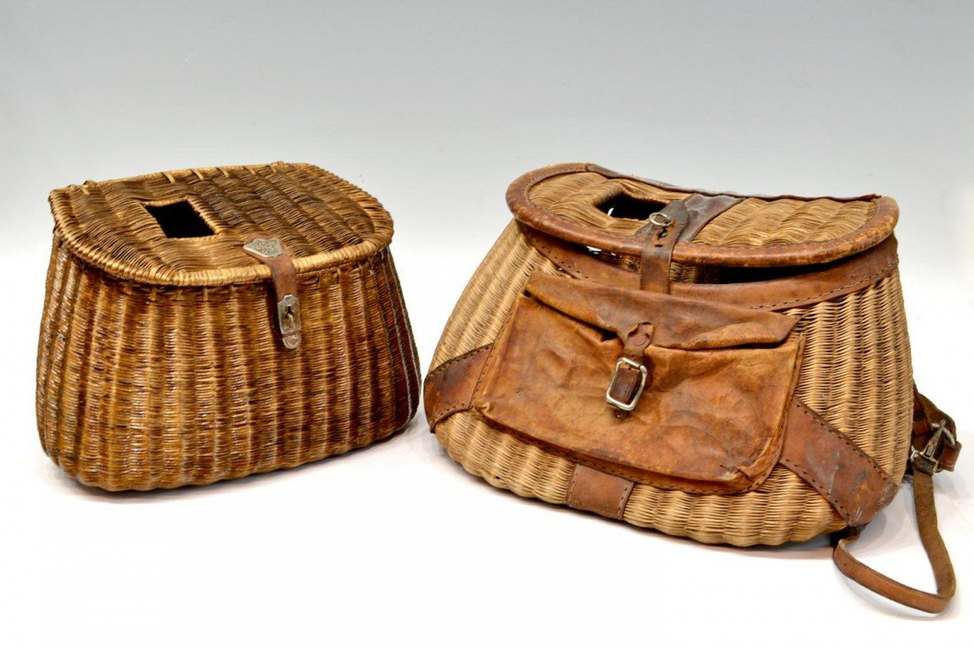 167: (2) ANTIQUE WICKER & LEATHER FISHING BASKETS