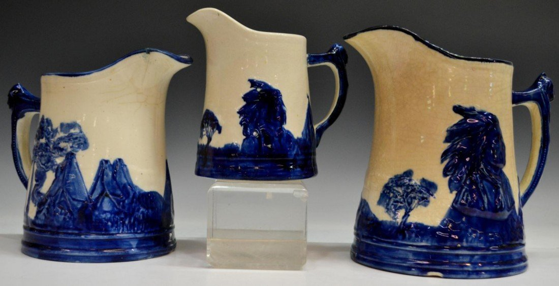 171: (3) COLLECTION 'OLD SLEEPY EYE' POTTERY PITCHERS