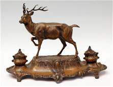 184: ANTIQUE FIGURAL STAG DOUBLE INKSTAND AFTER BOSSU