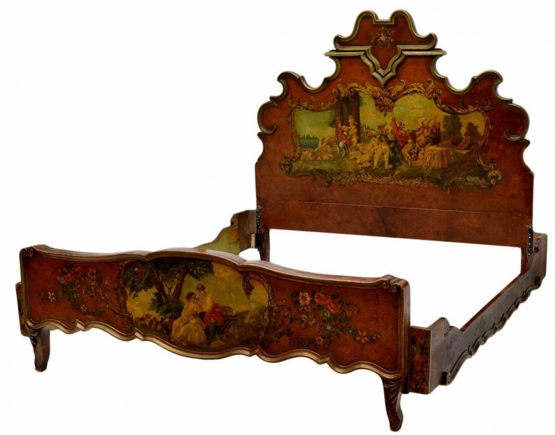 185: ITALIAN LOUIS XV STYLE FIGURAL PAINTED BED, QUEEN