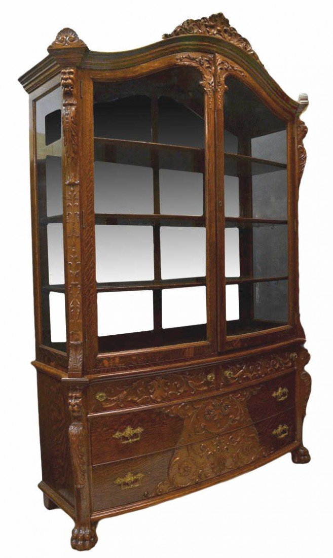 193: LARGE FANCY AMERICAN OAK BOW FRONT DISPLAY CABINET