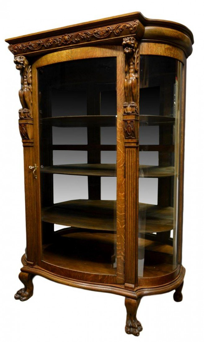 195: AMERICAN OAK CURVED GLASS CHINA CABINET, GRIFFINS