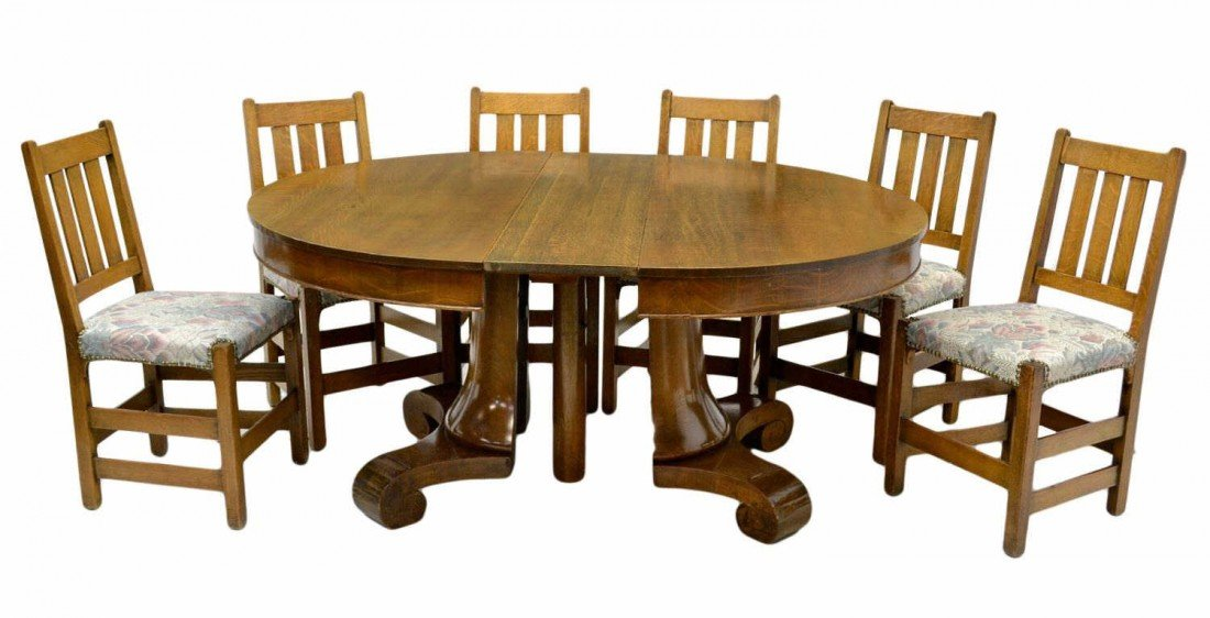 196: AMERICAN OAK ROUND DINING TABLE & SIX CHAIRS