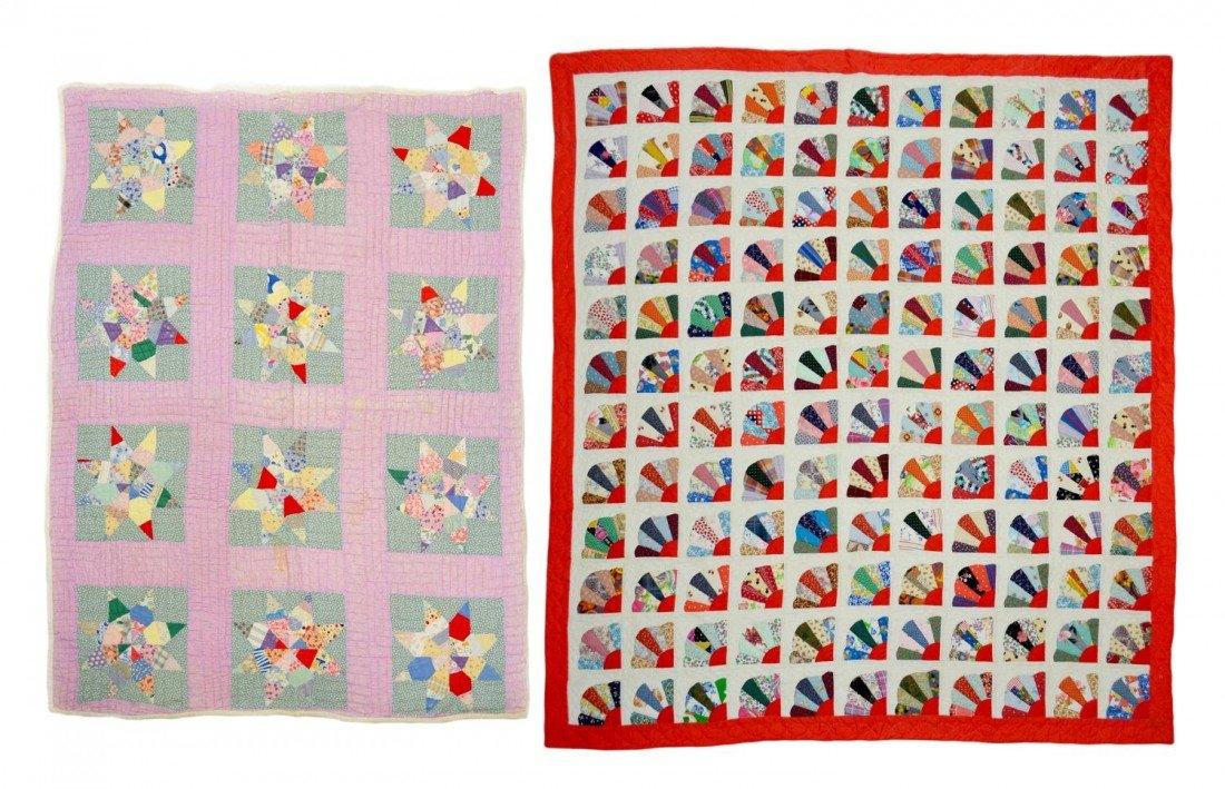 200: (2) EIGHT PONTED STAR & FAN HAND SEWN QUILTS