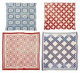 (4) VINTAGE RED, WHITE AND BLUE HAND SEWN QUILTS