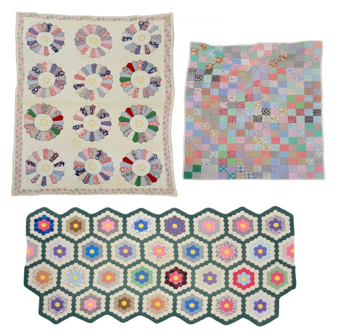 202: (3) FLORAL & PATCH VINTAGE HAND SEWN QUILTS