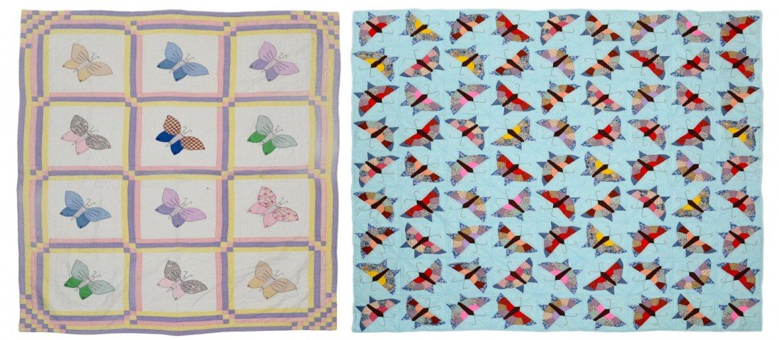 203: (2) HAND AND MACHINE SEWN BUTTERFLY QUILTS