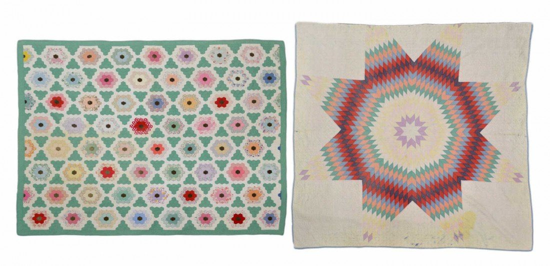 205: (2) COLORFUL VINTAGE HAND SEWN QUILTS
