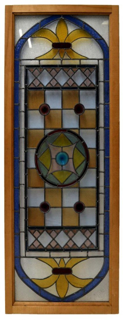 215: LARGE FRAMED LEADED & STAINED GLASS WINDOW