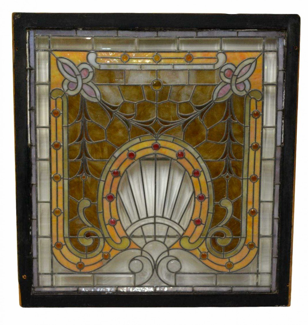 217: LARGE & ORNATE LEADED & STAINED GLASS WINDOW