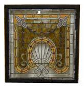218: ORNATE & LARGE LEADED & STAINED GLASS WINDOW
