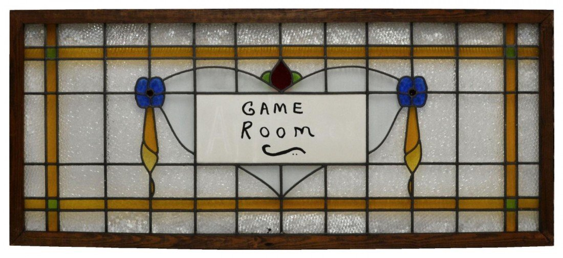 219: LARGE LEADED & STAINED GLASS WINDOW 'GAME ROOM'