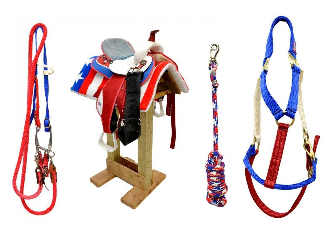 231: WESTERN HORSE SADDLE, RED, WHITE, BLUE, TACK