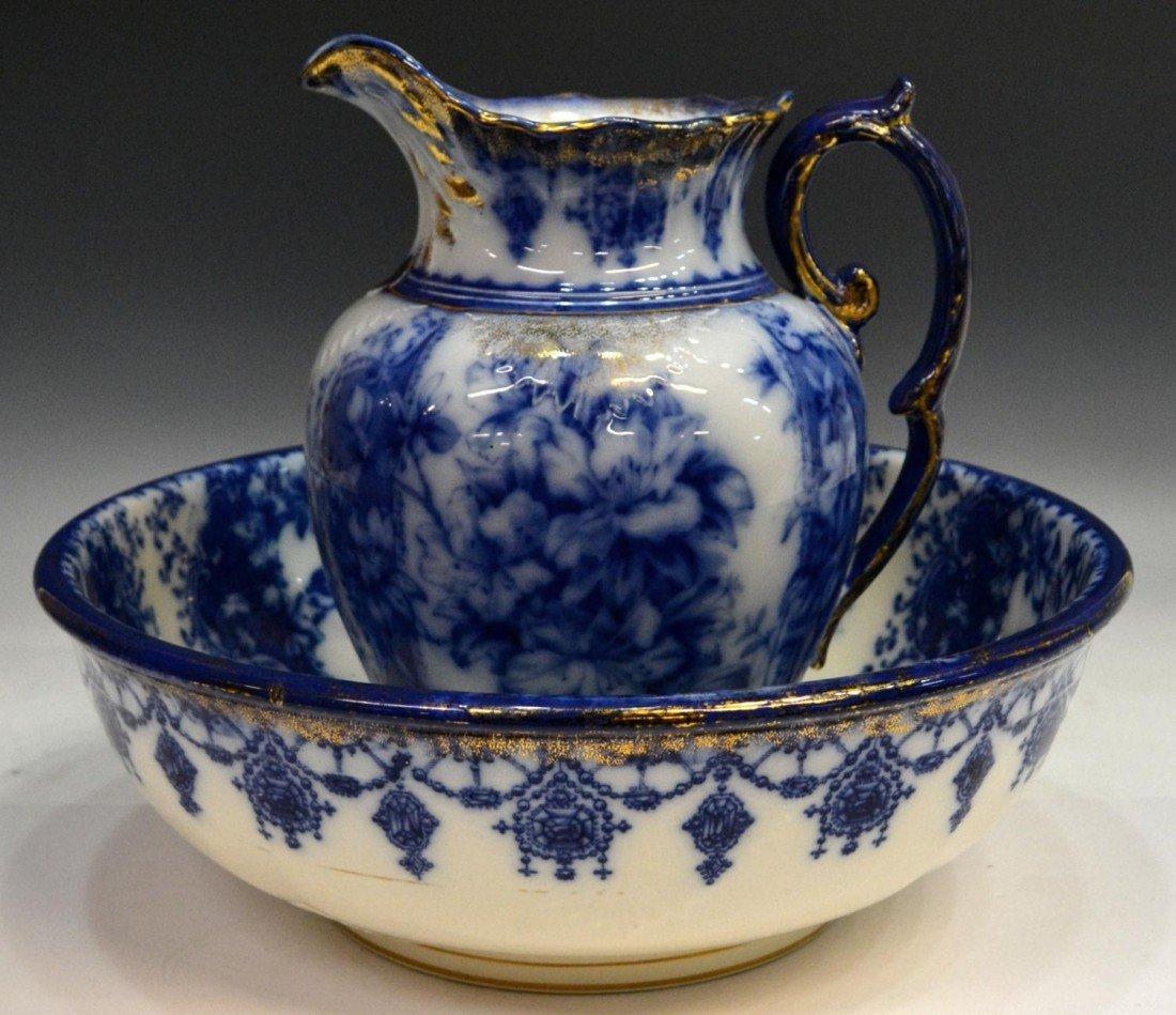 237: ANTIQUE ENGLISH BLUE & WHITE PARCEL GILT WASH SET