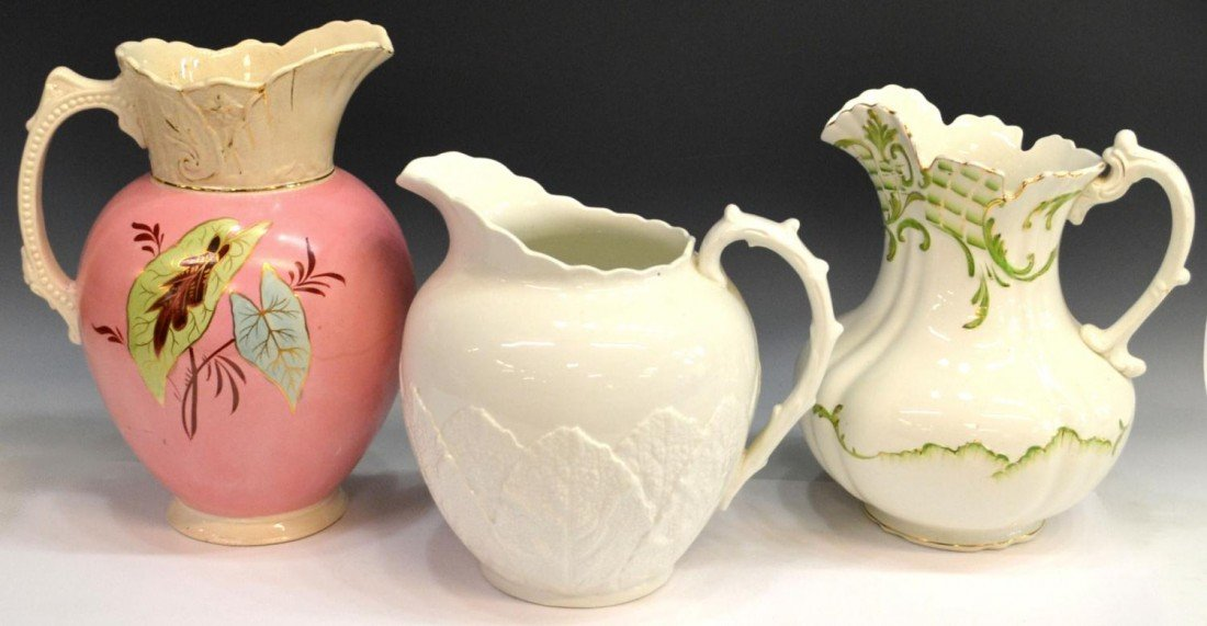 239: COLLECTION LARGE CONTINENTAL PORCELAIN PITCHERS