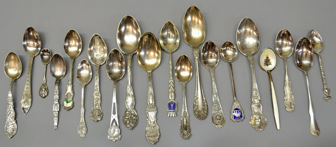 242: (20) COLLECTION STERLING SILVER COLLECTOR'S SPOONS