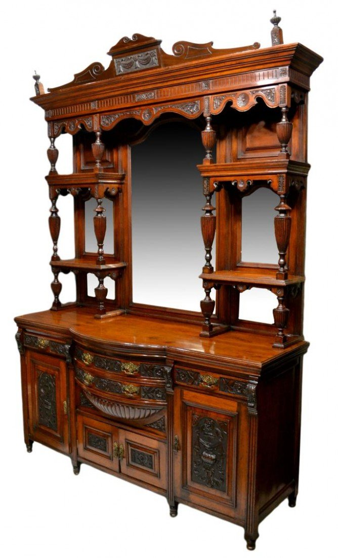 245: SPECTACULAR VICTORIAN MAHOGANY MIRRORED SIDEBOARD