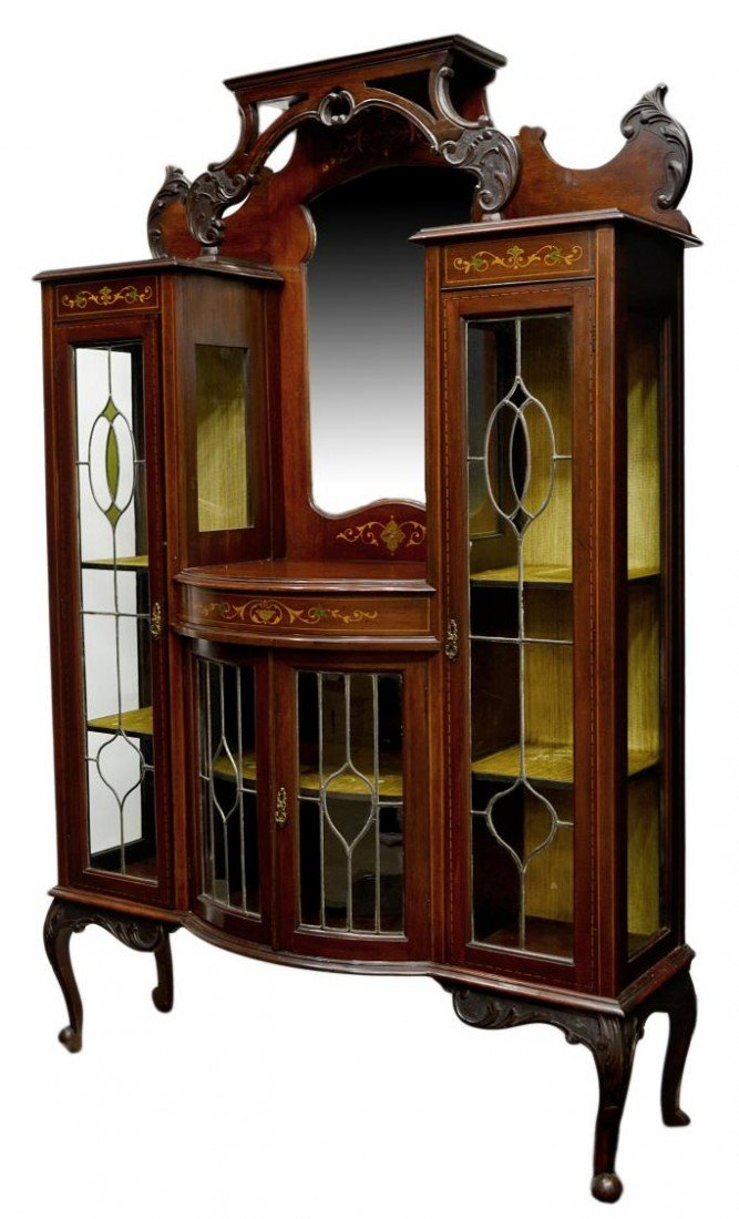 246: VICTORIAN ETAGERE, STAINED & LEADED GLASS