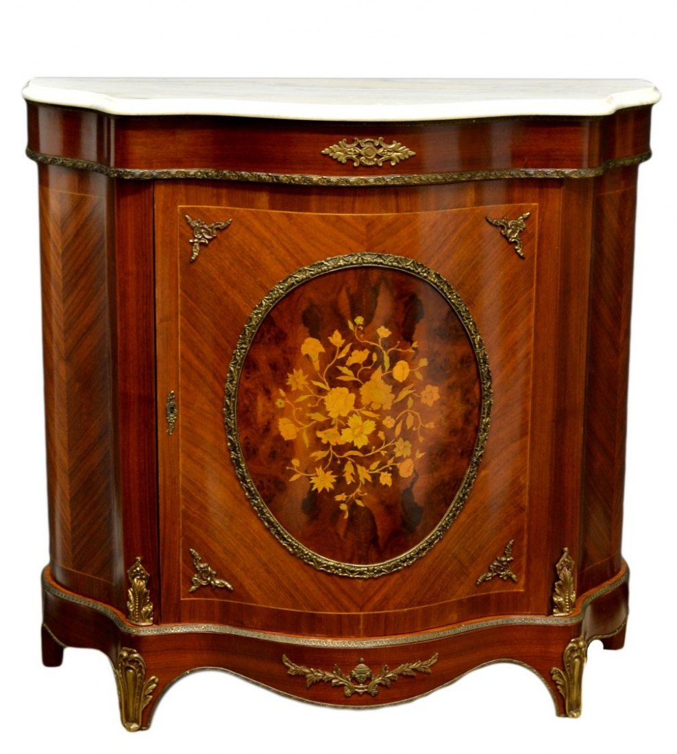 249: MARBLE TOP LOUIS XV STYLE CONSOLE CABINET