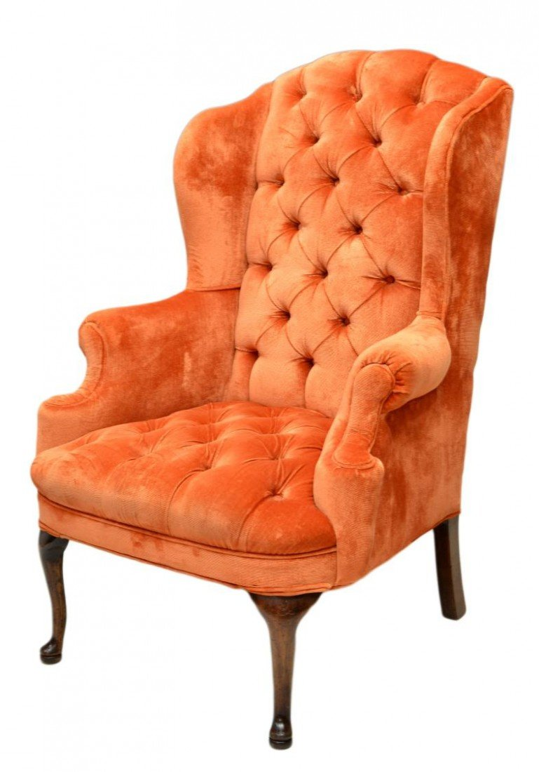 251: BUTTON & TUFTED WING BACK CHAIR