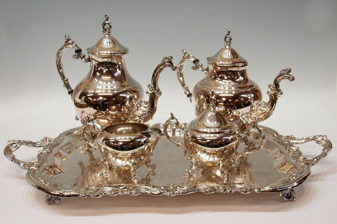 263: ORNATE FB ROGERS SILVER PLATE TEA & COFFEE SERVICE