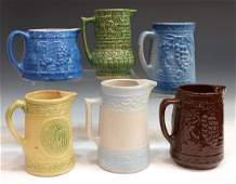 386: (6) ANTIQUE GLAZED POTTERY PITCHER GROUPING