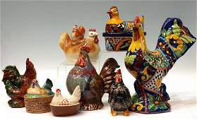 (8) VINTAGE & MODERN ASSORTED CERAMIC CHICKENS