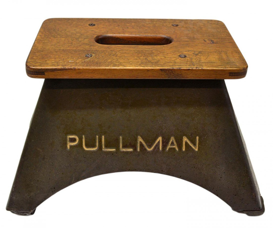 403: PULLMAN RAILROAD STEEL & WOOD STEP STOOL - 2