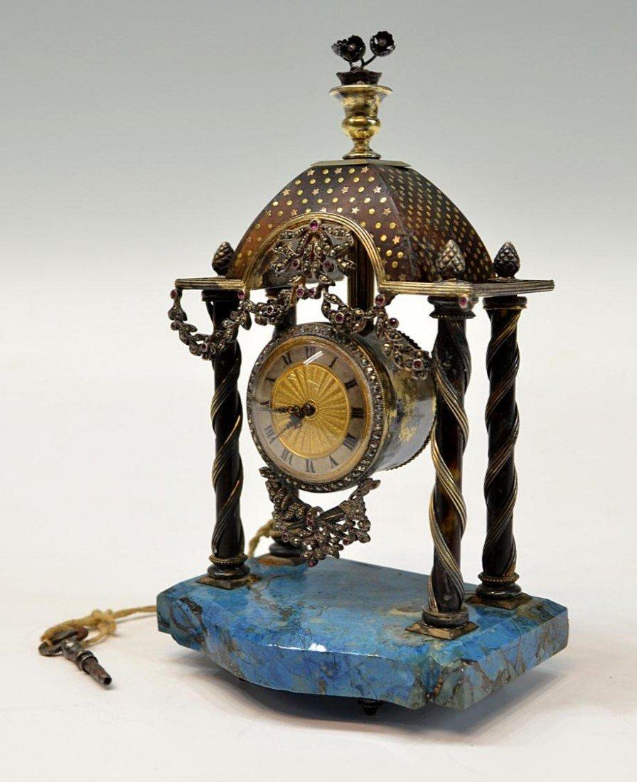1: ANTIQUE VIENNESE GEMSET LAPIS & MARCASITE CLOCK