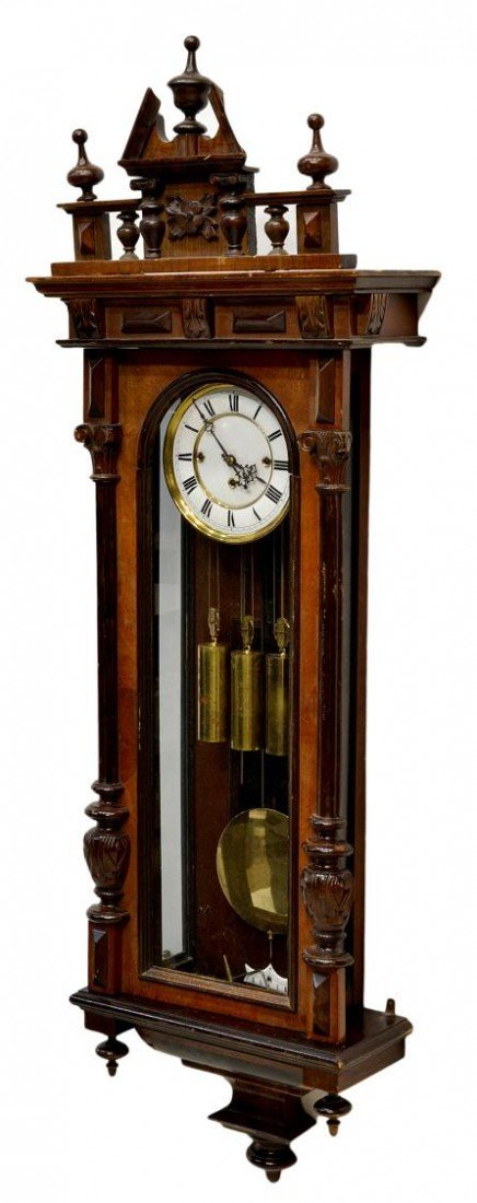 2: GUSTAV BECKER THREE WEIGHT WALL CLOCK