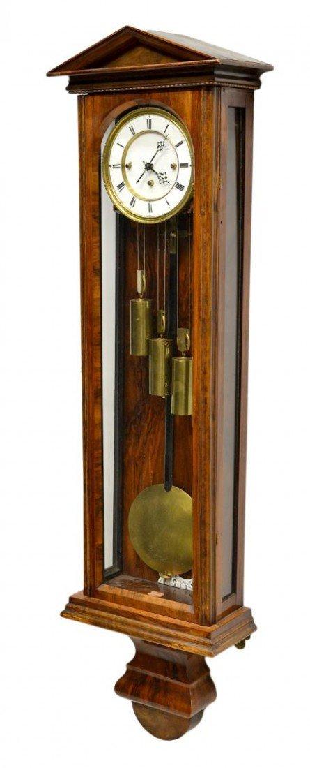 3: ROSEWOOD 3 WEIGHT VIENNA REGULATOR WALL CLOCK