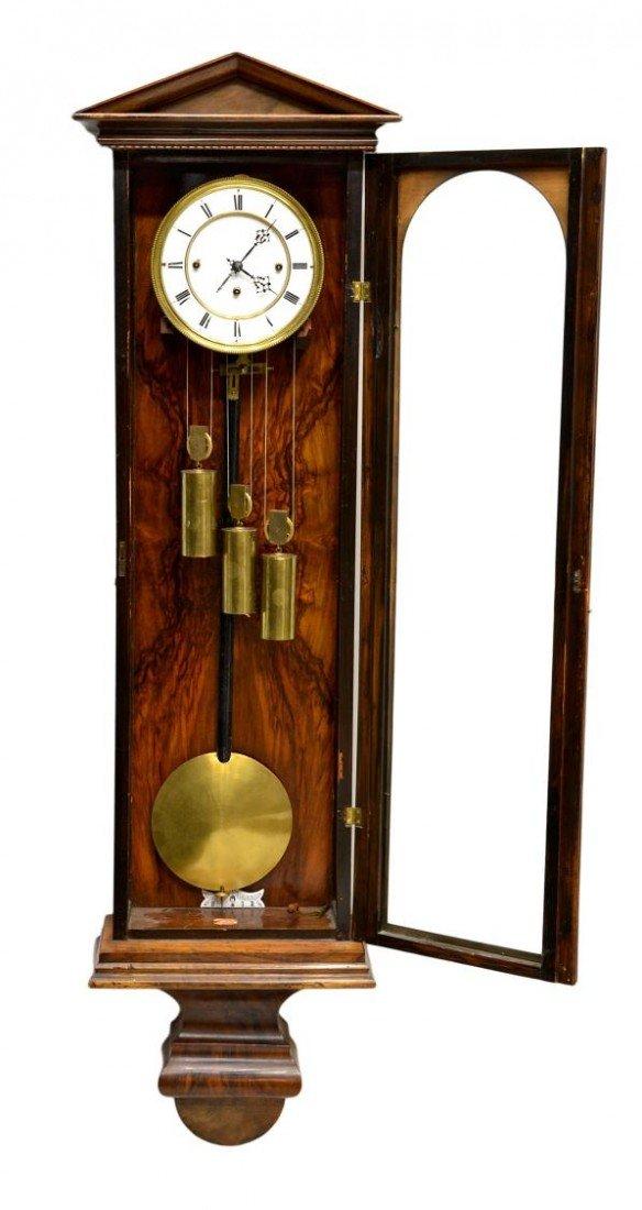 3: ROSEWOOD 3 WEIGHT VIENNA REGULATOR WALL CLOCK - 4