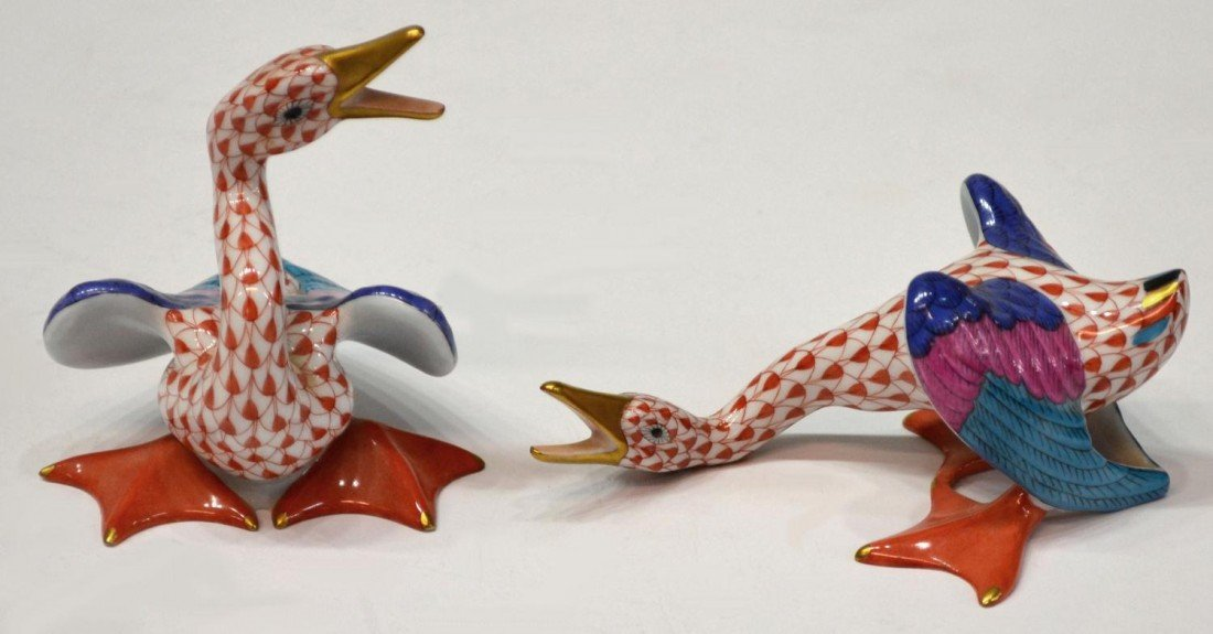 5: (2) HEREND RED FISHNET GEESE