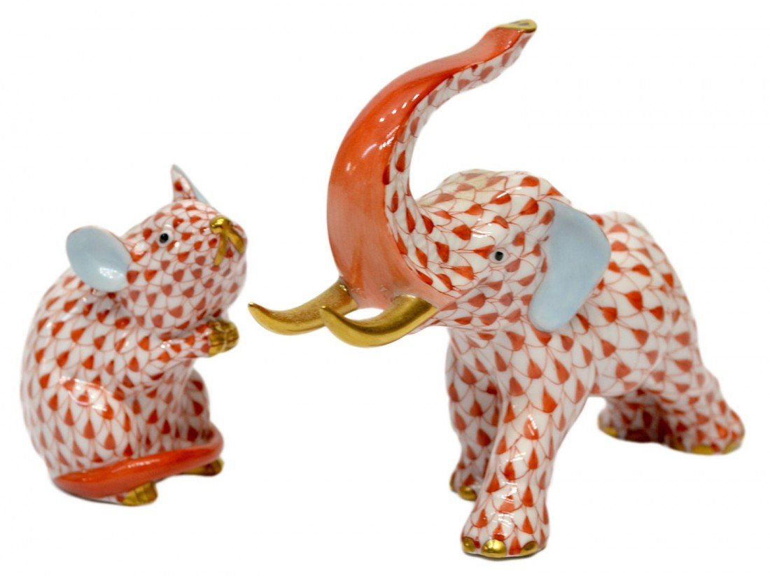 6: (2) HEREND RED FISHNET ELEPHANT & MOUSE